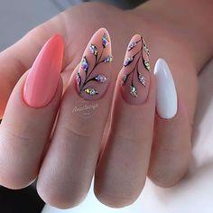 The Best Nail Art Designs – Your Beautiful Nails Cute Nails, Pretty Nails, My Nails, Acrylic Nail Designs, Nail Art Designs, Acrylic Nails, Coral Nail Designs, Coral Nail Art, Coral Nails With Design