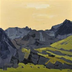 """Kyffin Williams - Sun over Nant Peris. Kyffin was a Welsh Landscape painter from Anglesey. He was regarded as the """"defining artist of Wales"""" during the 20th Century. He drew inspiration from the Welsh landscape, and farmlands. Kyffin's pieces contain simplified forms, with richly applied paint. Kyffin Williams' work is very recognisable."""