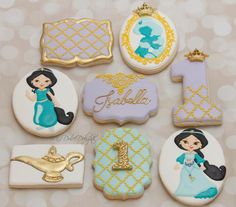 Princess Jasmine 1st birthday cookies | Cookie Connection