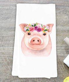 #ad #pigs Watercolor Pig Dish Towel