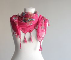 Woman fashion scarf Cotton Scarf with fringes NEW by soStyle, $15.00