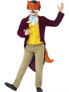Boys Roald Dahl Fantastic Mr Fox Fancy Dress Costume Pack Contains: Jacket with Tail and attached Waistcoat, Mask and Cravat Sizes:Medium - approx Age yrs Large - approx Age yrs Polyester Smiffys 27143 Roald Dahl Costumes, Book Costumes, World Book Day Costumes, Book Character Costumes, Book Week Costume, Costumes For Teens, Costume Ideas, Book Characters, Halloween Costumes