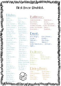 Delightful Free Printable Check List For The Essentials To Buy For A First House  (minus The