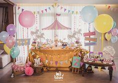 first birthday party idea Dumbo Birthday Party, Carousel Birthday Parties, Carousel Party, Carnival Themed Party, Circus Birthday, Girl First Birthday, 1st Birthday Parties, Birthday Party Decorations, First Birthdays