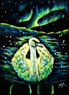 MOTHERS DAY SALE - Bird ACEO ORIGINAL Scratchboard Scratch Art ARTIC SWAN Aurora #Miniature