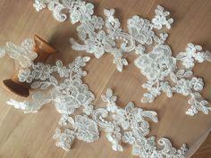 2 Pieces Sequined Bridal Alencon Lace Applique in by lacetime