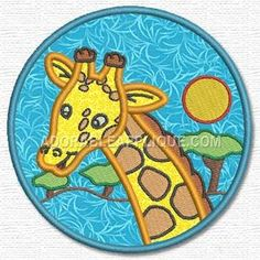 This free embroidery design is a giraffe. Free Machine Embroidery Designs, Animals For Kids, Giraffe, Sewing Patterns, Applique, Quilt, Presents, Tips, Needlepoint