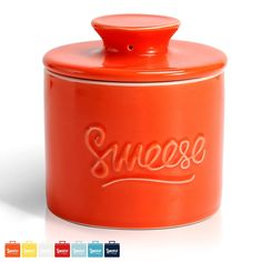 Sweese 3107 Porcelain Butter Keeper Crock - French Butter Dish - No More Hard Butter - Perfect Spreadable Consistency, Orange - Lovely Novelty Butter Crock, Butter Dish, Orange Kitchen, Waffles, Pancakes, Big Family, Consistency, My Favorite Color, Coffee Cans