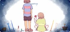 """""""*anyway, isn't it meant to be me who starts the courtship by giving you a flower? *C-Courtship?! *thanks for taking the initiative, tori. *S-Sans! """" Prompt inspired by this post~"""