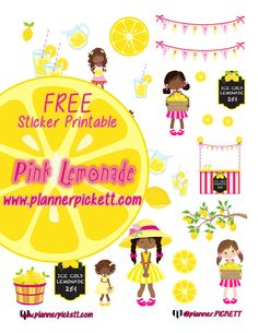@planner.PICKETT: Pink Lemonade Stand Printable PLanner Stickers for EC , ERIN CONDREN , HP , Happy Planner , Kikki k. , Filofax , 1407 , plumplanner , and limelife planner :)