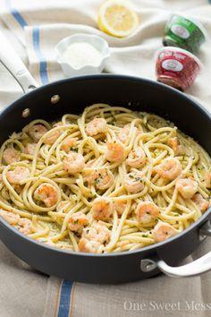 15-Minute Shrimp Linguine with Lemon Butter Cream Sauce