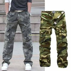 Fat | Mens Casual Military Army Cargo Camo Combat Work Pants Trousers | eBay