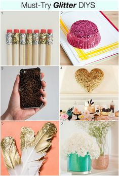 Glitter DIYs may be messy, but boy are they pretty! These must-try projects not only have just the right amount of glitz and glam but they also manage to transform… Vinyl Crafts, Diy Arts And Crafts, Fun Crafts, Crafts For Kids, Craft Tutorials, Craft Projects, Diy Tumblr, Glitter Crafts, Crafty Craft
