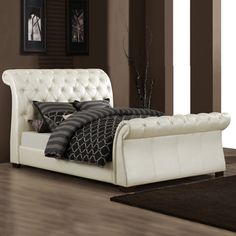 @Overstock - This Castela bed features sturdy Asian wood construction with soft white faux leather upholstery. The sleigh design and tufted headboard add an elegant touch to any room.http://www.overstock.com/Home-Garden/Castela-Soft-White-Faux-Leather-King-Sleigh-Bed/5943190/product.html?CID=214117 $800.99