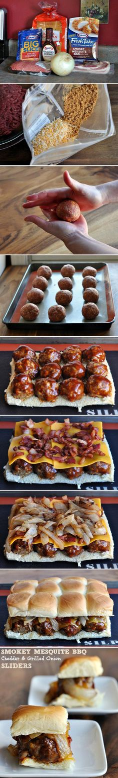 Mesquite bbq meatball sliders in 40 minutes. Cheddar, onions, BACON, and bbq sauce!