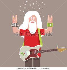 Santa Claus rock musician with electric guitar - stock vector