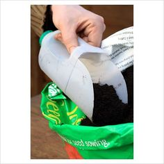 Garden scooper: Make garden & feed scoops from empty plastic milk cartons.  Use permanent marker to designate each one's use, and also to mark volume measures on the side.