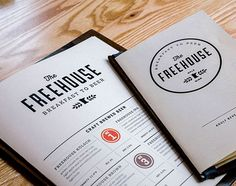 The Freehouse menu designed by Bolster.