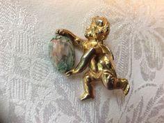 Hattie Carnegie Angel Cherub with Glass Stone Brooch Pin #HattieCarnegie