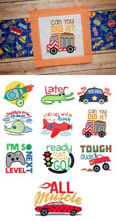 Our All Boy Applique design set includes 10 awesome applique designs perfect for the boys in your life! Available for instant download at www.designsbyjuju.com