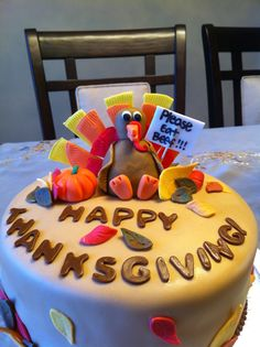 """Please Eat Beef' Thanksgiving Cake - Chocolate spice cake with cinnamon cream cheese filling. Cake was inspired by one I saw on the forum (sorry, I don't recall the user's name!)."