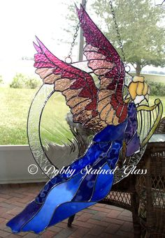 Stained Glass Panel  Angel with Harp by DobbyStainedGlass on Etsy, $368.00