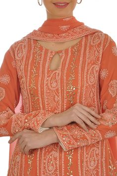 Orangey Peach Chikankari With Patti Kamdaani Anarkali Suit Kurti Designs Party Wear, Kurta Designs, Blouse Designs, Indian Attire, Indian Outfits, Kalamkari Dresses, Kurta Patterns, Tandoori Masala, Kurta Neck Design