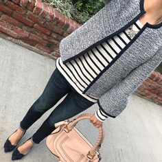 tweed bell sleeve jacket, Chloe marcie small leather satchel, navy bow pumps