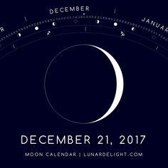 Thursday, December 21 @ 09:30 GMT  Waxing Crescent - Illumination: 8%  Next Full Moon: Tuesday, January 2 @ 02:25 GMT Next New Moon: Wednesday, January 17 @ 02:18 GMT