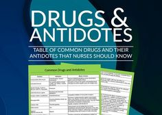 Emergency room antidotes that nurses or nursing students should know. The following is a list of different antidotes for different agents. Common antidotes.