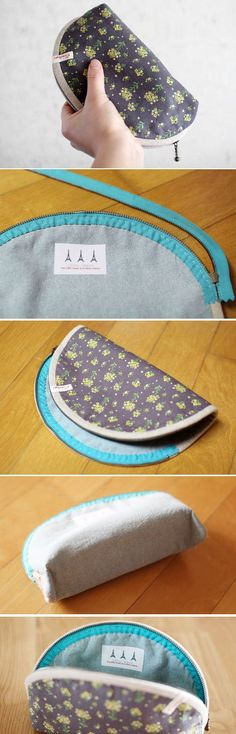 Simple cosmetic bags. How to Sew Basic Zippered Pouch http://www.handmadiya.com/2016/06/how-to-sew-basic-zippered-pouch.html