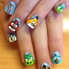 Ongles Angry Birds. Angry Birds Nails. My Nanna Bananna would love these!