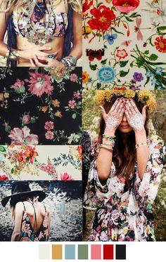 GYPSY (SS 2016) - folk floral pattern inspiration | mood board | surface pattern design | textile design