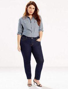 Mode ronde : le jean skinnySkinny en denim souple (coton et élasthanne), taille mi-haute, technologie «ventre-plat», du 48 au 56, Levis Plus, 99 €.