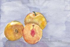 Sommer / Summertime / Verano / Été / 暑期 Pear, Watercolor Painting, Summer Time, Water Colors, Pears