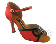 Natural Spin Latin Shoes(Open Toe, Adjustable):  M1146-07a_RedCS