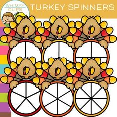 Have fun with this free turkey spinners clip art set. This set contains 12 image files, which includes 6 color images and 6 black & white images in png. All clipart images are 300dpi for better scaling and printing.You will receive:6 color png images6 black & white png imagesTerms of Use:  The clip art may be used in educational commercial products.