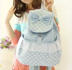 canvas bag,Vintage Pastel Bleu Canvas Backpack girl backpacking I need this.
