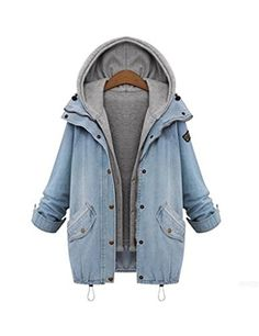 BYBU Womens Casual Slim Zip Up Denim Coat Jacket Hoodie Vest As picture L -- More info could be found at the image url.