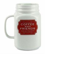 MASON JAR COFFEE MUG FRIENDS CERAMIC BARBUZZO 20OZ COLLECTIBLE MULTI-COLOR #Barbuzzo