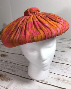e3ea5e026f315c Vintage Mid Century Womens Christian Dior Chapeaux Beret Hat Orange Pink