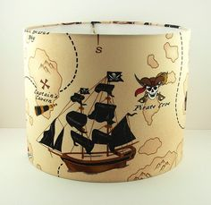 DRUM SHADEBoys Lampshade Pirate Lamp by PookadellasHomeDecor