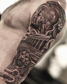 Jun Cha Creates Beautiful Hyper-Realistic Tattoos That Will Leave You Stunned - KickAss Things Outer Forearm Tattoo, Leg Tattoo Men, Arm Sleeve Tattoos, Forarm Tattoos, Body Art Tattoos, Jun Cha Tattoo, Military Sleeve Tattoo, Religious Tattoo Sleeves, Temple Tattoo