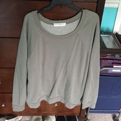 Crew neck sweatershirt cream green color, very warm, wine once-mint condition Urban Outfitters Sweaters Crew & Scoop Necks
