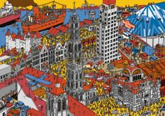 Pieter De Poortere (Flemish cartoonist): find Santa Claus. Where's Wally style.