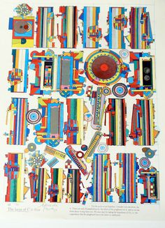 Illustration of Eduardo Paolozzi, Scottish sculptor and artist. . Paolozzi investigated how we can fit into the modern world to resemble our fragmented civilization through imagination and fantasy.