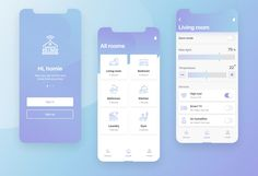 Smart home mobile app Hi everyone! Here is my concept of Smart home app, which enables users to easily control all your rooms and accessories. Have a nice day! Mobile App Design, Mobile Ui, Design Ios, Design Home App, Flat Design, Bathroom Design Layout, Bathroom Design Small, Modern Bathroom, Life App