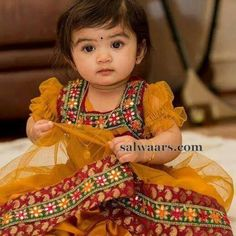 Baby in Mustard Mirror Work Skirt - Indian Dresses Cute Baby Dresses, Dresses Kids Girl, Kids Outfits, Kids Dress Wear, Kids Gown, Children Dress, Baby Girl Frocks, Frocks For Girls, Baby Frocks Designs