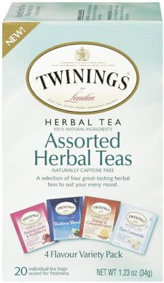 TWININGS Assorted Tea, Herbal, (Pack of Twinings® of London Assorted Herbal Tea Bags. By Appointment to Her Majesty Queen Elizabeth II Tea and Coffee Merchants R. Twining and Company Limited London. Twinings Tea, Tea Varieties, Tea Blends, How To Make Tea, Gourmet Recipes, Herbalism, Herbal Teas, Count, London