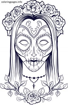 Free Sugar Skull Coloring Pages Located In SUGAR SKULL Category Printable For Kids